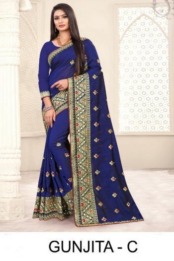 royal blue art silk fabric embroidery work party
