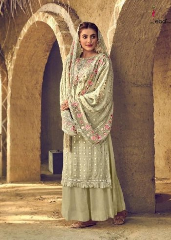 pista green georgette fabric embroidery work wedding