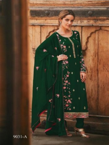 green georgette fabric embroidery work ethnic