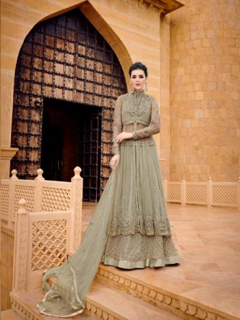 pista green net fabric embroidery work ethnic