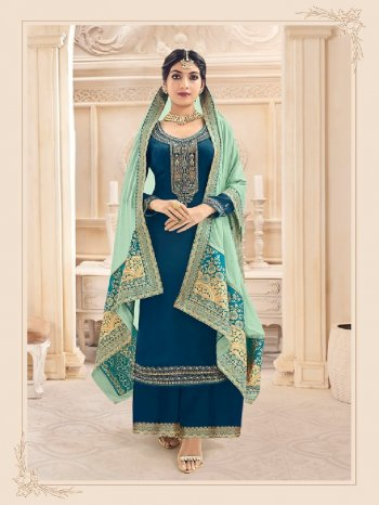 blue georgette fabric embroidery work party