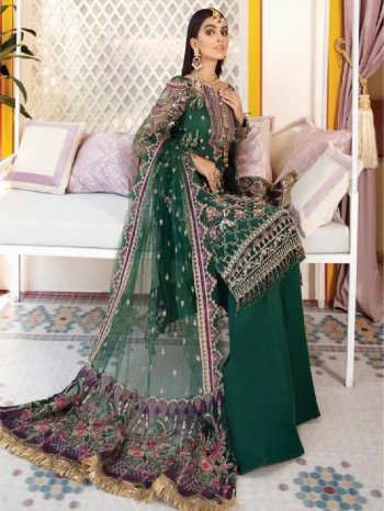 rama green butterfly net fabric embroidery work wedding