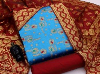 sky blue banarasi jaquard silk fabric jaquard print work wedding