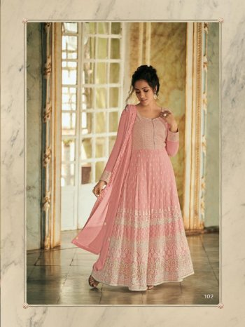 baby pink georgette fabric embroidery work wedding