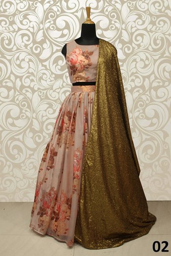 rose brown orgenza fabric printed work wedding