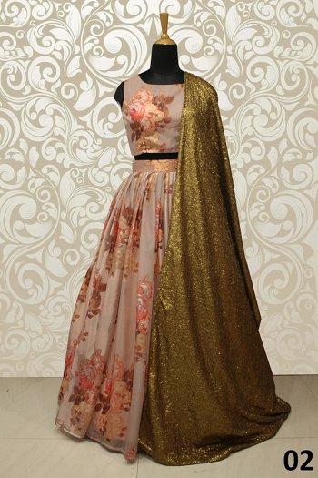 rose brown orgenza fabric printed work wedding