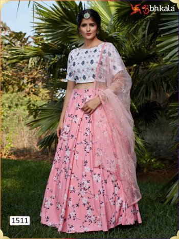 pink & white crepe silk fabric embroidery work ethnic