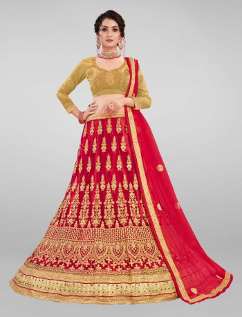 red & golden net fabric embroidery work wedding