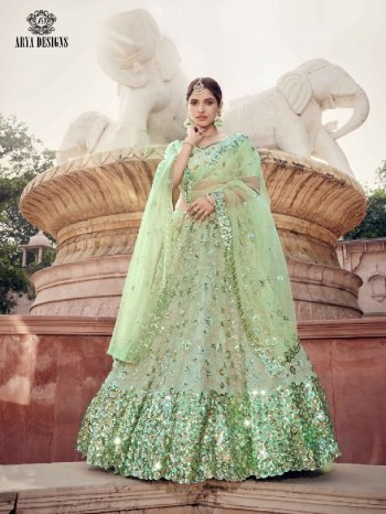pista green soft net fabric embroidery  work casual