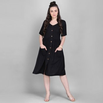 black rayon fabric plain work casual