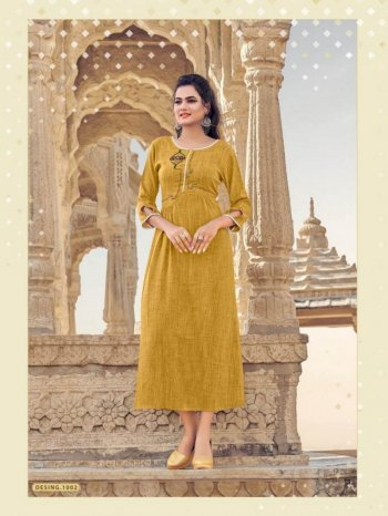mustard yellow heavy rayon fabric handwork work casual
