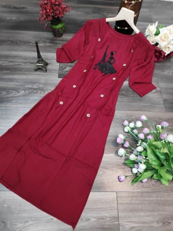 rubby red heavy rayon fabric hot fix butta work festival
