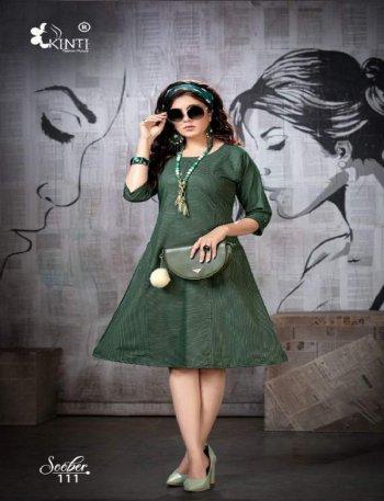 green handloom strip fabric print work casual