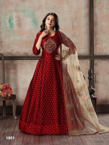red tafeta fabric heavy embroidery work wedding