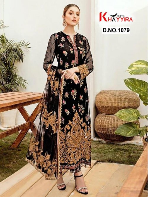 black georgette fabric embroidery work casual