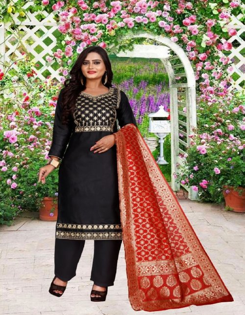 black cotton fabric embroidery work party wear