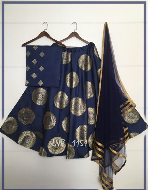 navy blue jacquard banarasi silk fabric printed work festive
