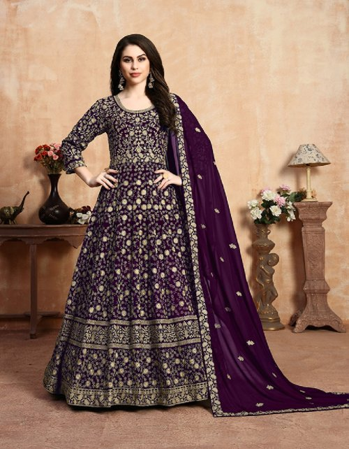 dark purple georgette fabric embroidery work ethic