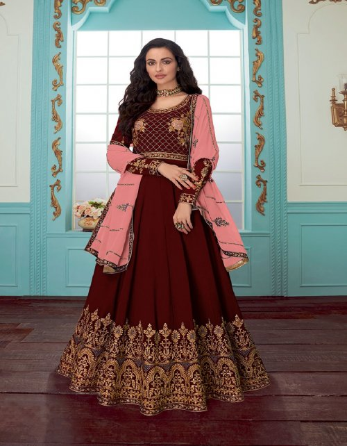 maroon georgette fabric plain & embroidery work ethic
