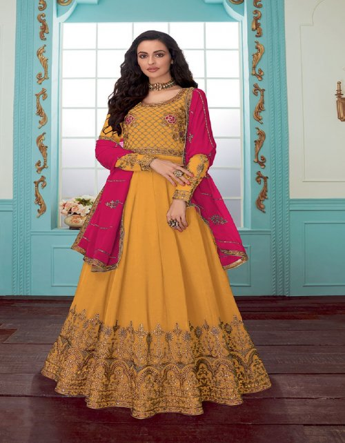 yellow georgette fabric plain & embroidery work wedding