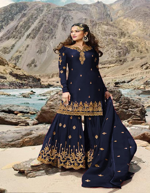 navy blue georgette fabric embroidery work ethic