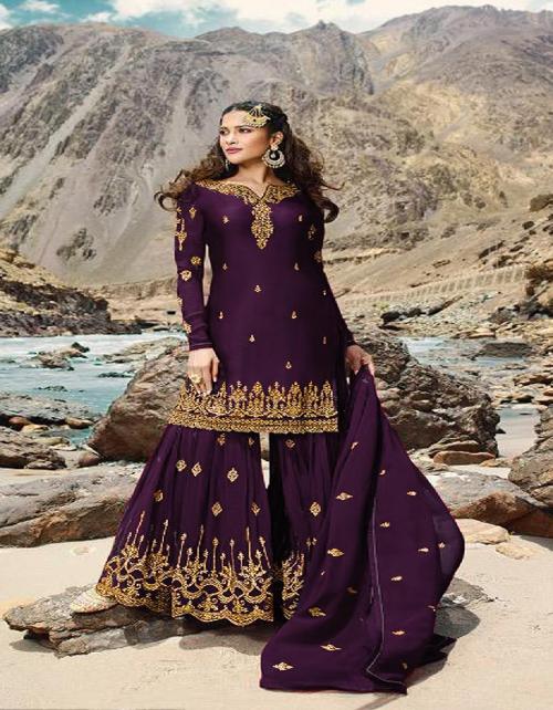 dark purple georgette fabric embroidery work festive