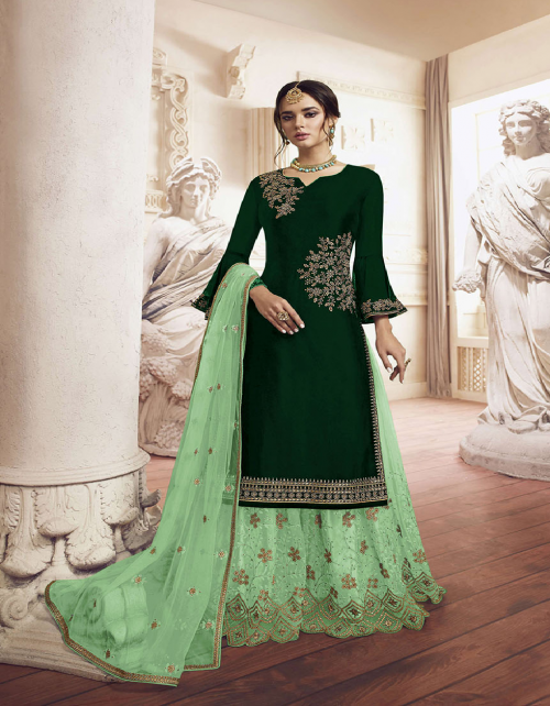 dark green georgette fabric detailed embroidery work casual