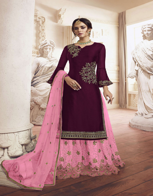 pink georgette fabric detailed embroidery work ethic