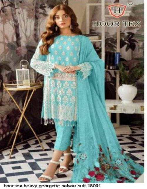 sky blue heavy georgette fabric embroidery & patch work work casual