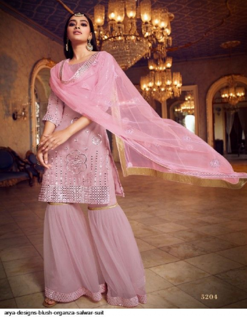 pink organza fabric stone work & embroidery work ethic