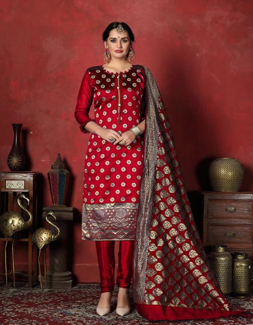 maroon banarsi silk fabric jaqcuard work casual