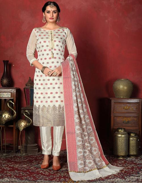 off - white banarsi silk fabric jaqcuard work wedding