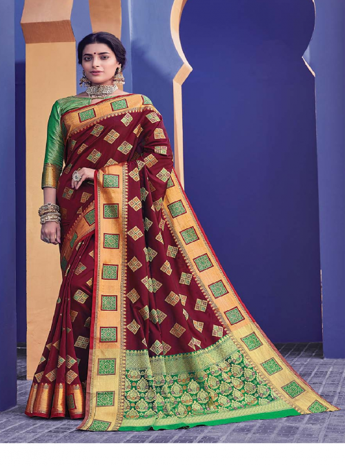 marron banarasi silk fabric jacquard work party wear