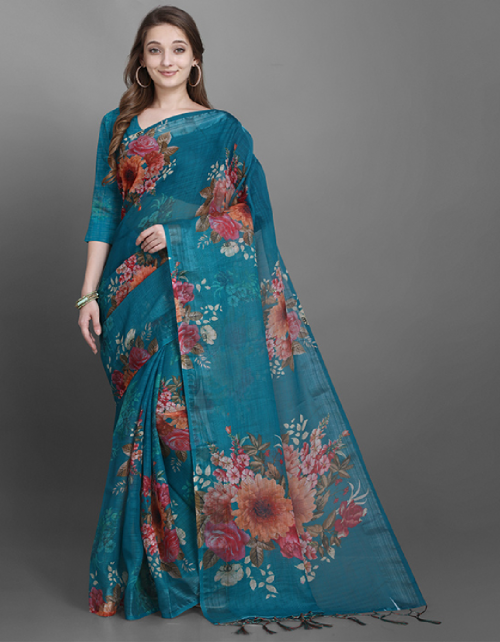 sky linen slub fabric printed work ethnic