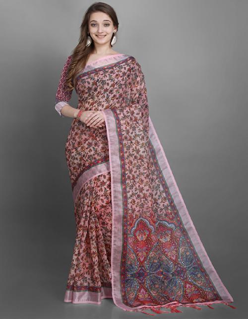 pink linen slub fabric printed work casual