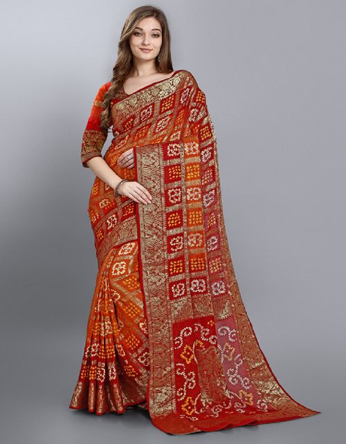 red georgette  fabric bandhani work wedding