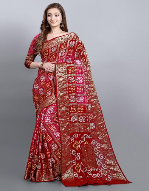 red georgette  fabric bandhani work running