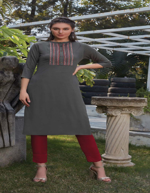 grey rayon fabric embroidery work casual