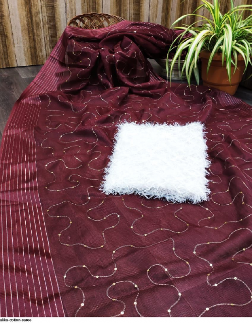 marron cotton  fabric sequence  work festive