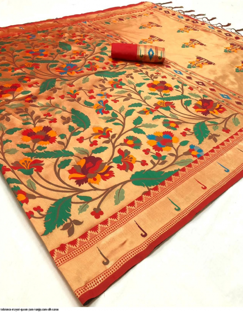red kanjivaram silk fabric weaving work casual