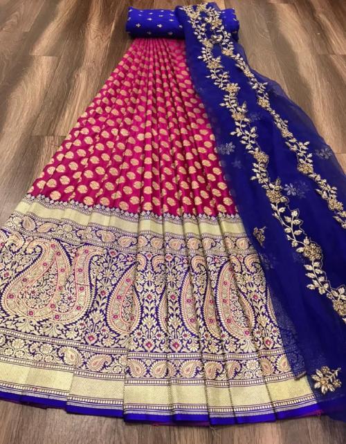 pink lehena -kanjivaram silk 3m |blouse - banglori 0.80m |dupatta - organza 2.50m fabric embroidery work casual