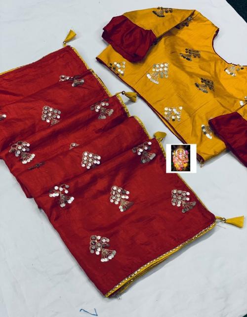 red saree -dola silk |blouse -fancy full stitch size 42-44 fabric embrodiery seqeunce work wedding