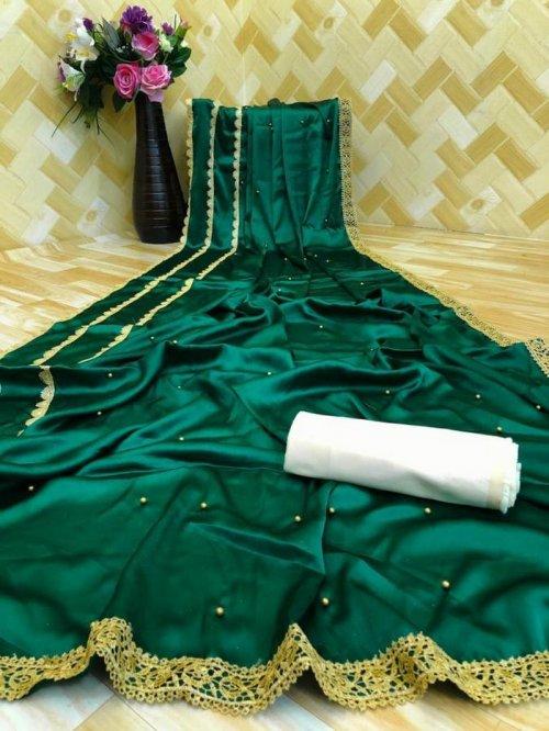 green satin silk fabric pearl work work party