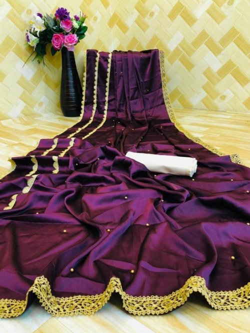 purple satin silk fabric pearl work work party