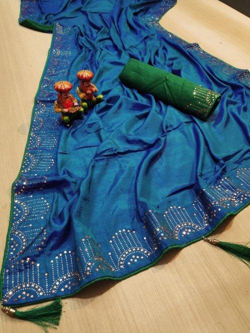 rama blue vichitra silk fabric diamondwork work party