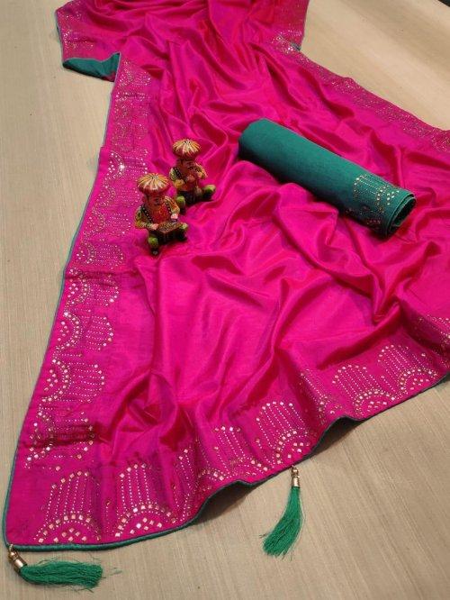 hot pink vichitra silk fabric diamondwork work party