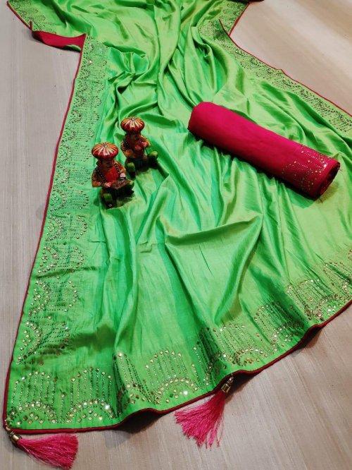 nion pista vichitra silk fabric diamondwork work party