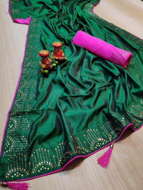 green vichitra silk fabric diamondwork work party