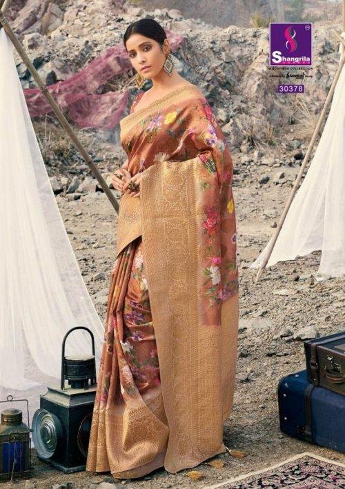 light brown soft gicha silk fabric weaving kasab rich pallu work festival