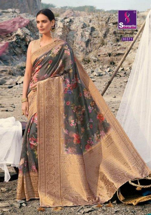 grey soft gicha silk fabric weaving kasab rich pallu work festival
